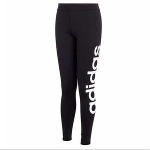 Girls Adidas Yoga Leggings Black White 12 Large